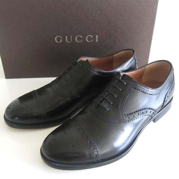 a6022952c19 new GUCCI black perforated cap toe shoes 8   9 US